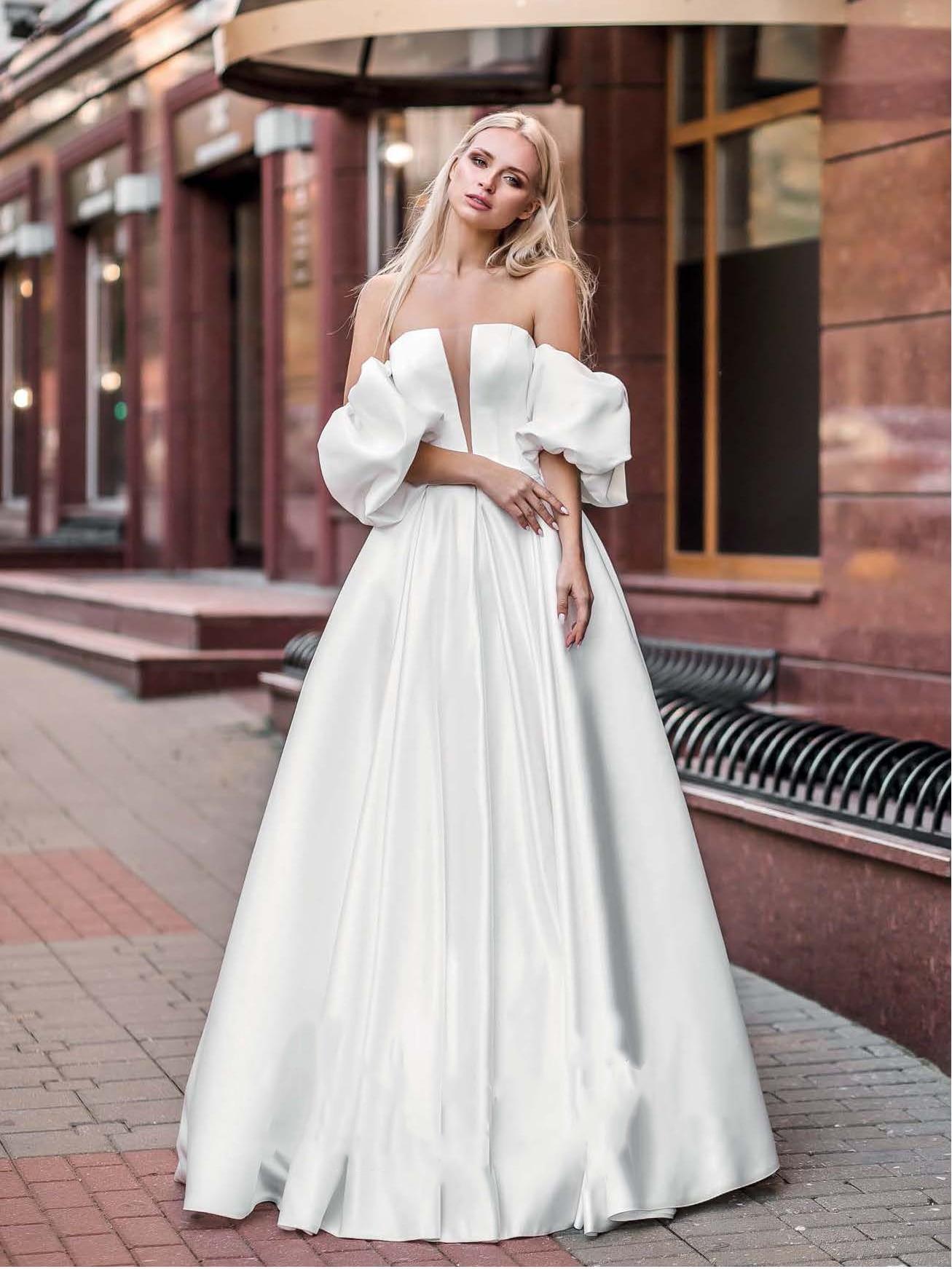 Promo Strapless Satin Wedding Bridesmaid Gowns V-Neck Custom Made 2021 Short Sleeves Lacing Princess Simple Full Length Bridal Dress