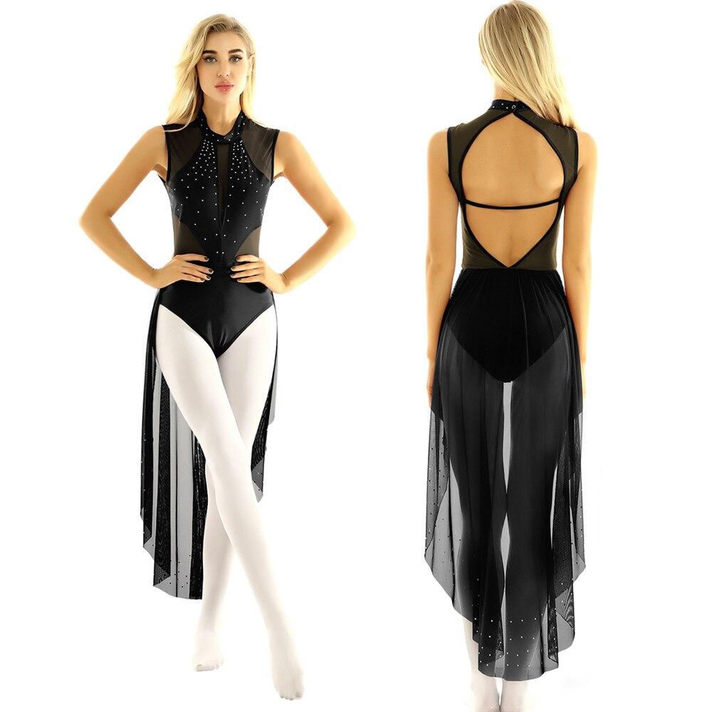 Tiaobug collant collant feminino, brilhante strass sem mangas dancewear ginástica body vestido de bailarina desempenho trajes de dança