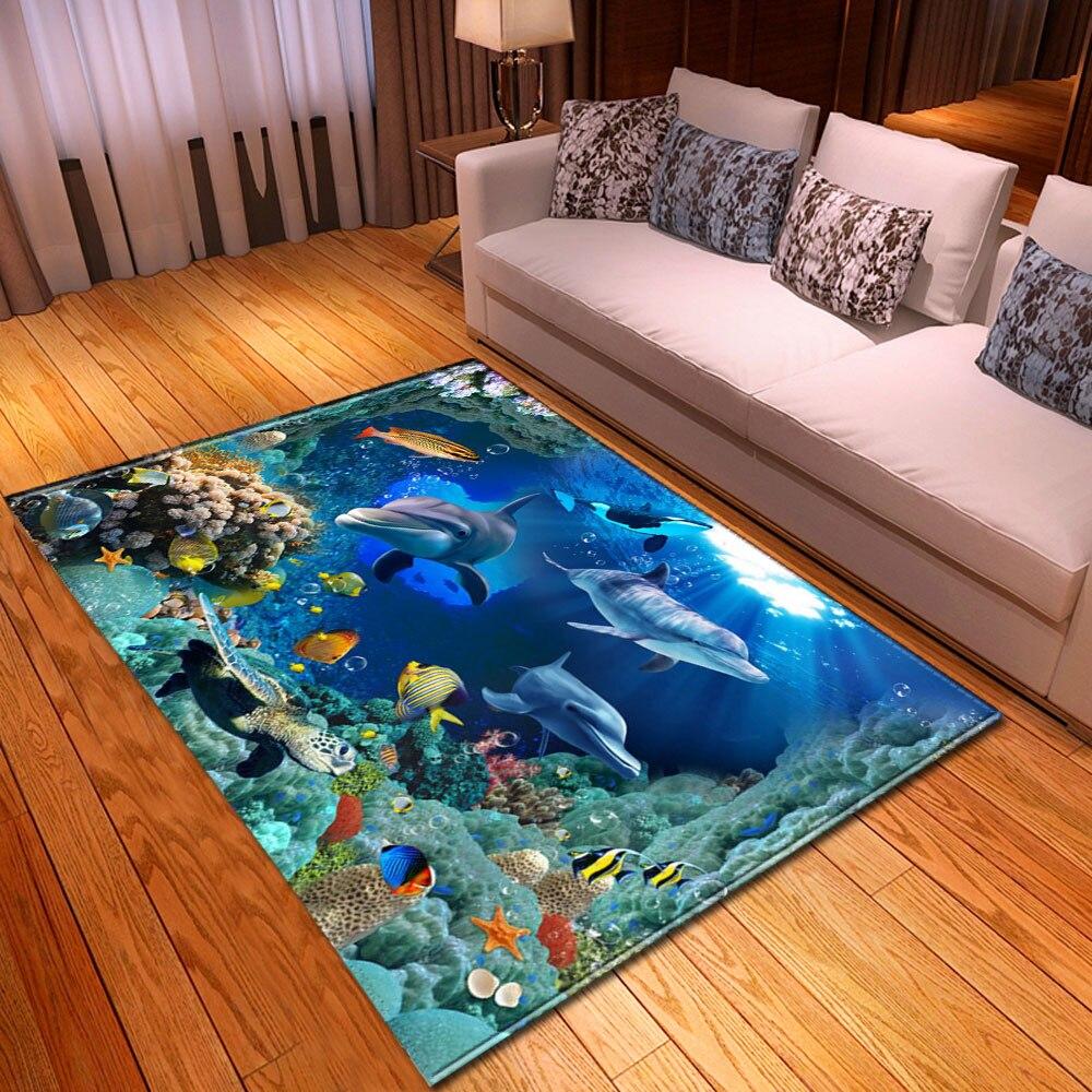3D Aquarium Dolphin Parlor Rug Children Play Crawling Mat Flannel Home Decor Bedroom Area Rug Large Living Room Rug Carpet