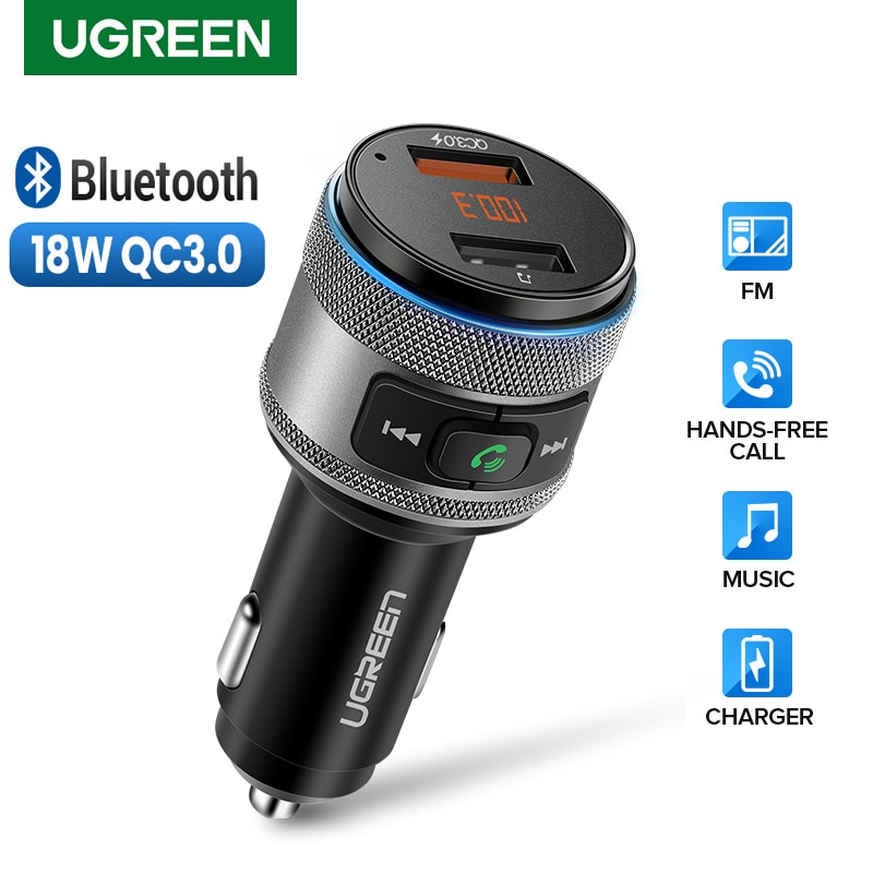 Ugreen QC 3.0 USB شاحن هاتف السيارة بلوتوث FM الارسال شاحن سيارة QC3.0 شحن سريع محول ل شاومي آيفون اليد الحرة