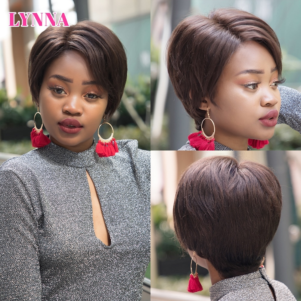 Pixie Cut Human Hair Wig Short Straight Front Lace Wig with Human Hair 150% Density Cheap Wig for Black Women