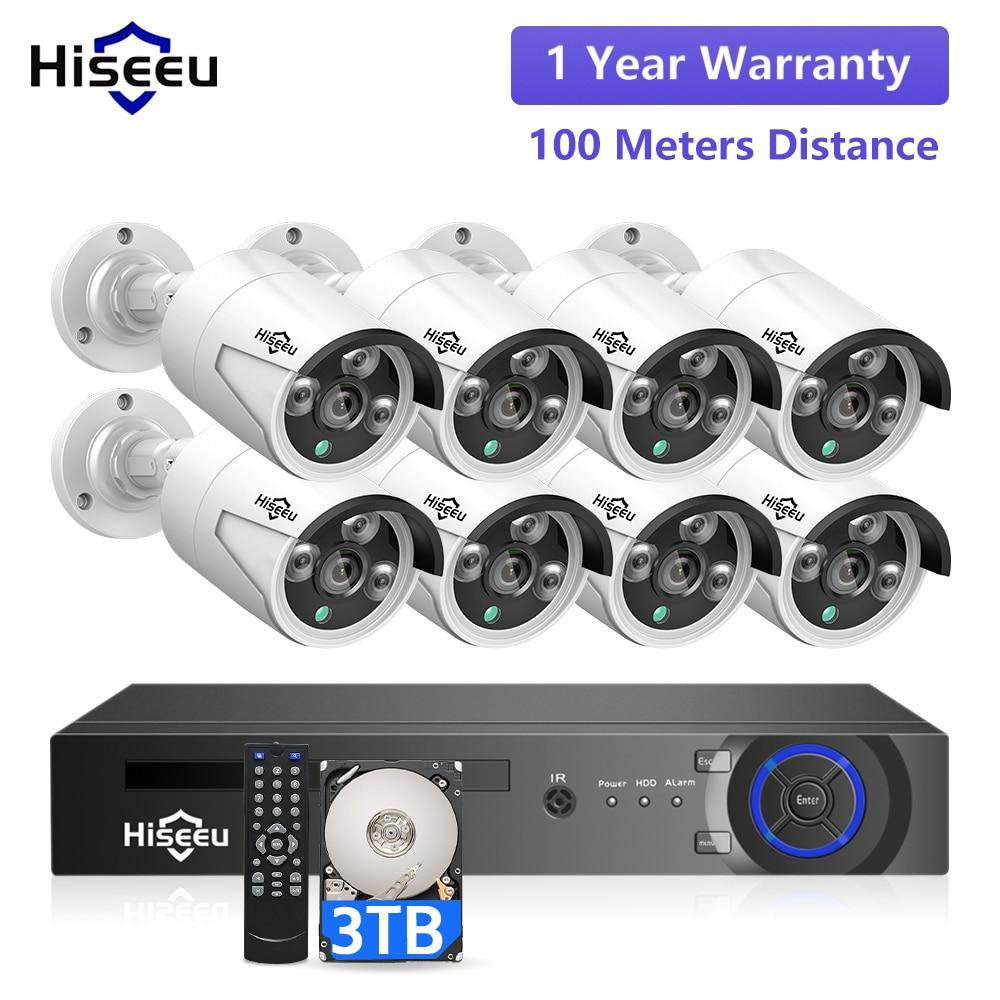 Hiseeu 5MP 3MP 8CH POE NVR مسجل CCTV IP كاميرا مراقبة الأمن POE نظام المنزل في الهواء الطلق طقم مقاوم للماء
