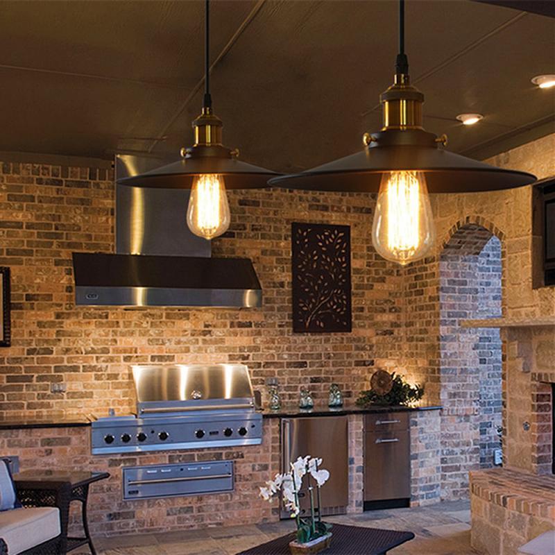 Металлическая Подвесная лампа в стиле ретро, винтажная желесветильник я лампа Эдисона в стиле лофт, водонепроницаемая Потолочная люстра, т...