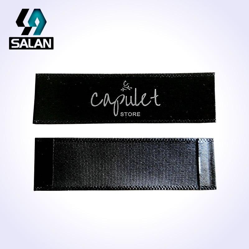 custom single satin ribbon fabric print sewing tags for cloth label custom logo printed clothing tags free shipping