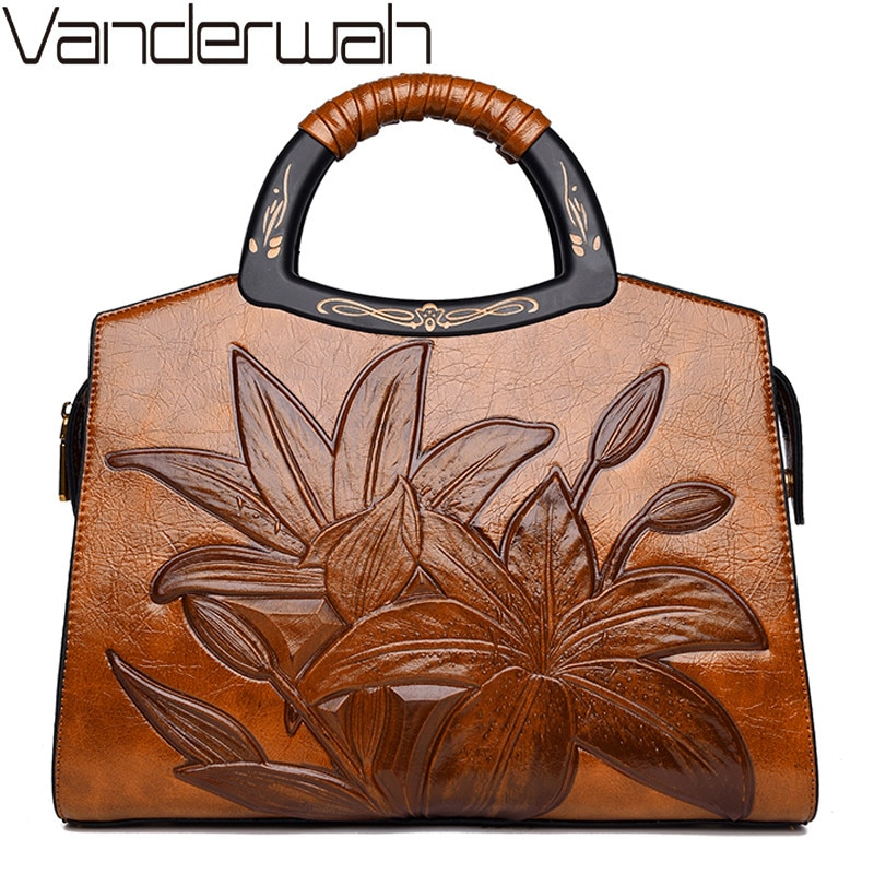 مصمم حقائب جلدية خمر Crossbody للنساء النمط الصيني النقش حقائب كتف متنقلة حقائب الزهور جودة عالية