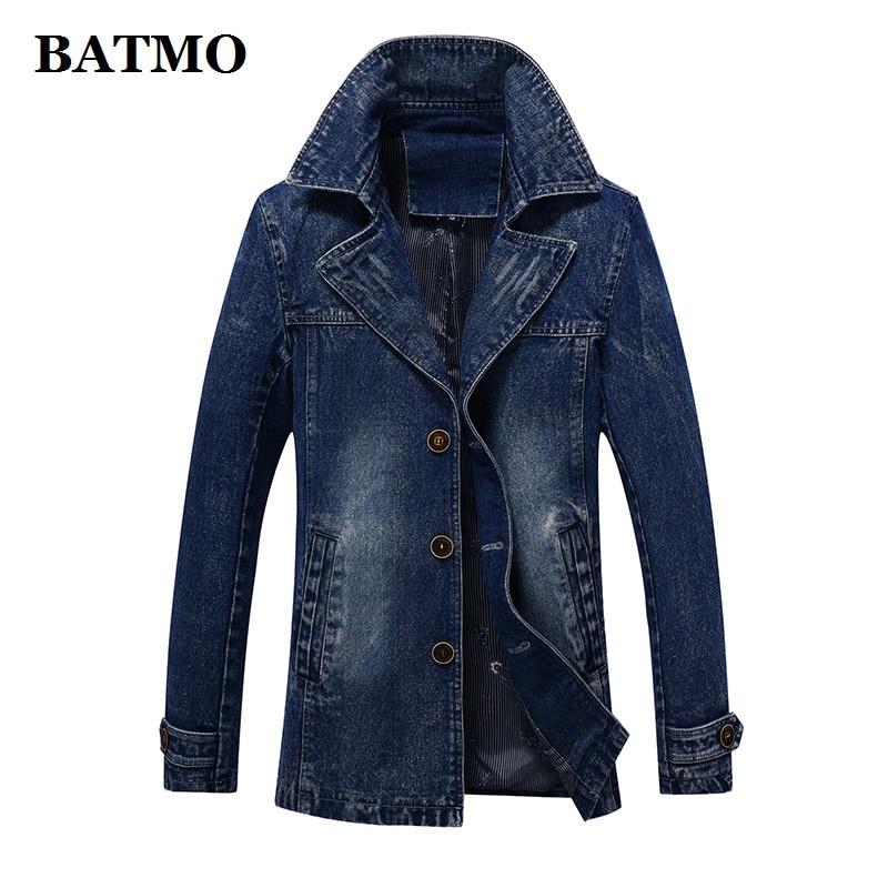 BATMO 2021 جديد وصول الخريف عالية الجودة القطن الدنيم خندق معطف الرجال ، الرجال الدنيم سترات رجالي ، حجم كبير S-4XL ، F8929