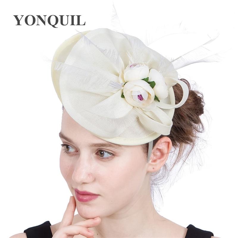 Sombreros de boda de color Beige fascinator para mujer, Tocados nupciales con...