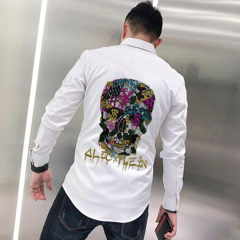 Молодежная Оригинальная дизайнерская мужская футболка на пуговицах, изысканный популярный простой комбинезон с черепом и лацканами