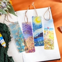 5 Pcs set Artist Color Oil Painting Bookmark PVC Reading Book Mark Van Gogh Starry Sky Book Page Marker Stationery Supplies