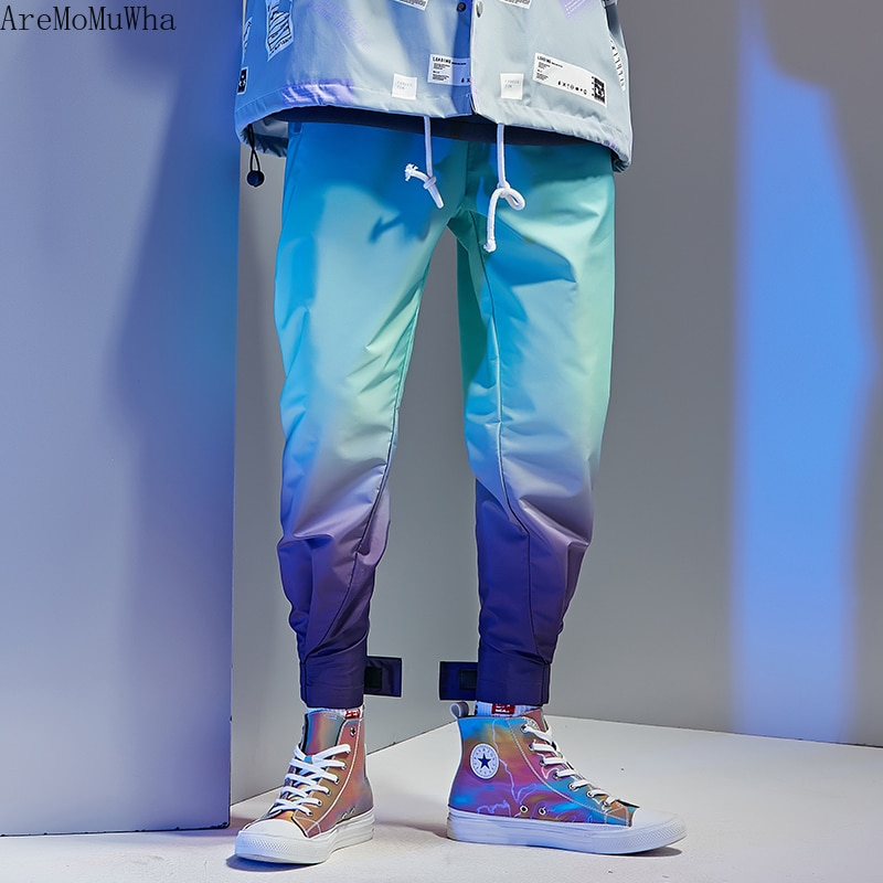 AreMoMuWha New Gradient Color Trousers Men Tide Brand Korean Casual Pants Personality Trend Loose Sports Hip-hop QX1449