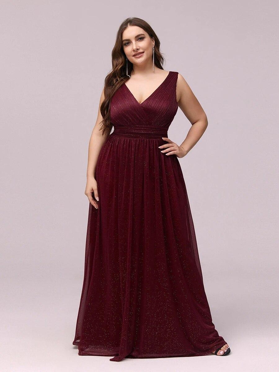 Double V Neck Maxi Long Plus Size Evening Dresses for Party