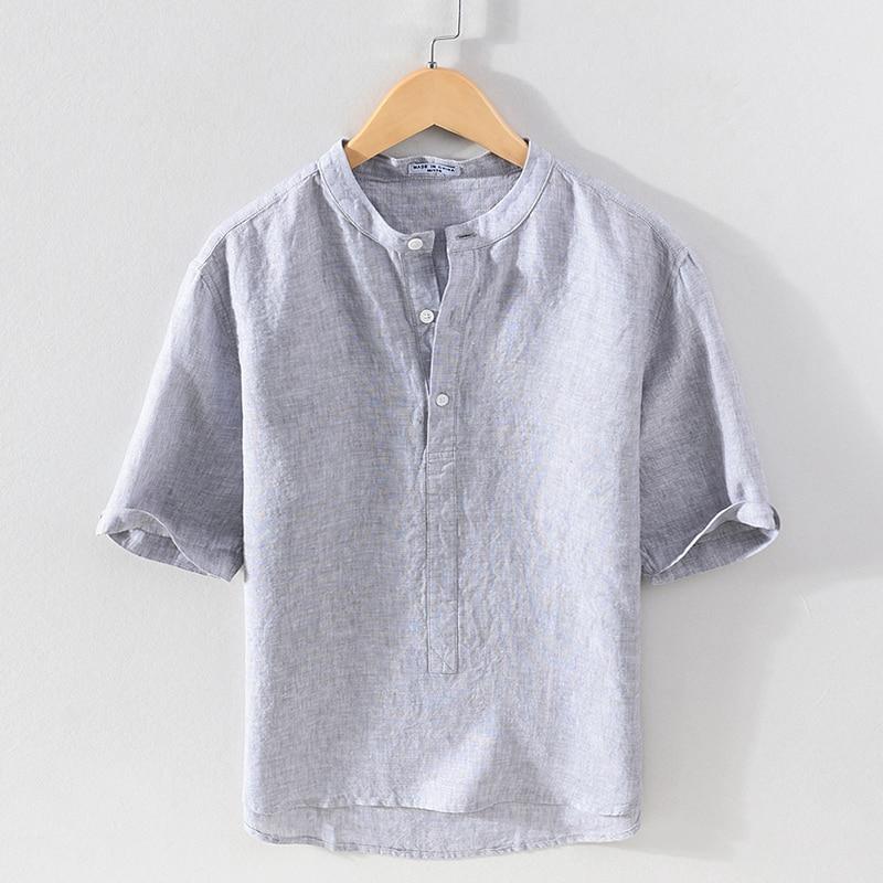 قميص رجالي عصري مريح بنصف كم وياقة واقفة للخروجات اليومية من الكتان موديل 100% قميص رجالي مصبوغ باللون الرمادي