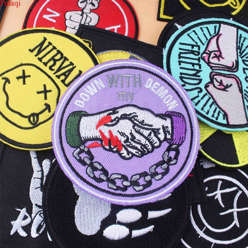 Pulaqi punk remendo preto branco hippie rock remendo bordado ferro em remendos para roupas nirvana adesivo listras para roupas diy