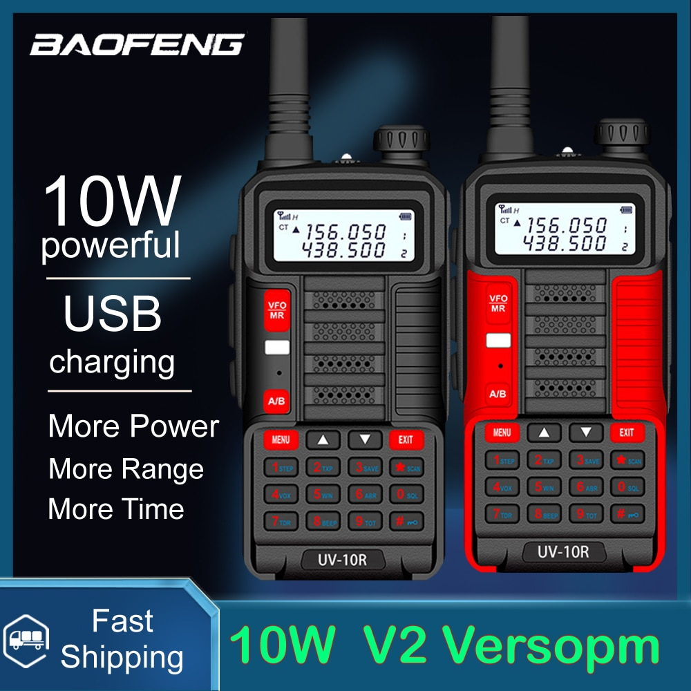 BaoFeng اسلكية تخاطب UV-10R V2 اتجاهين CB ناقل موجات الراديو طويلة المدى UV10R V2 128CH VHF UHF 136-174Mhz 400-520Mhz ثنائي النطاق