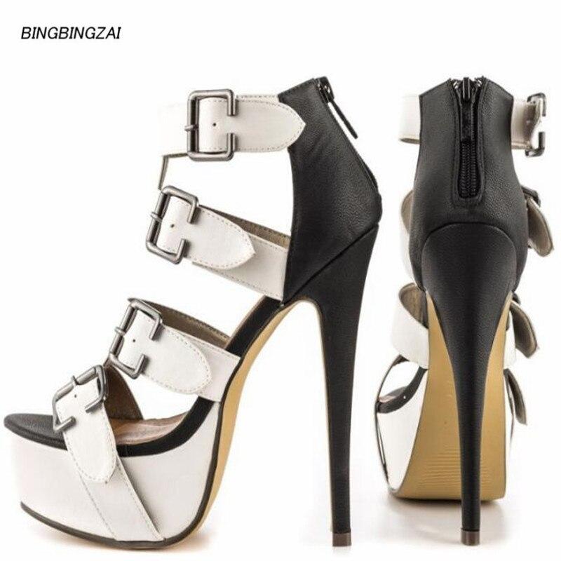 Zapatos de mujer con tacón fino de 15cm de Europa y América, increíble Show de moda para club nocturno de ee.uu., 3-15-16
