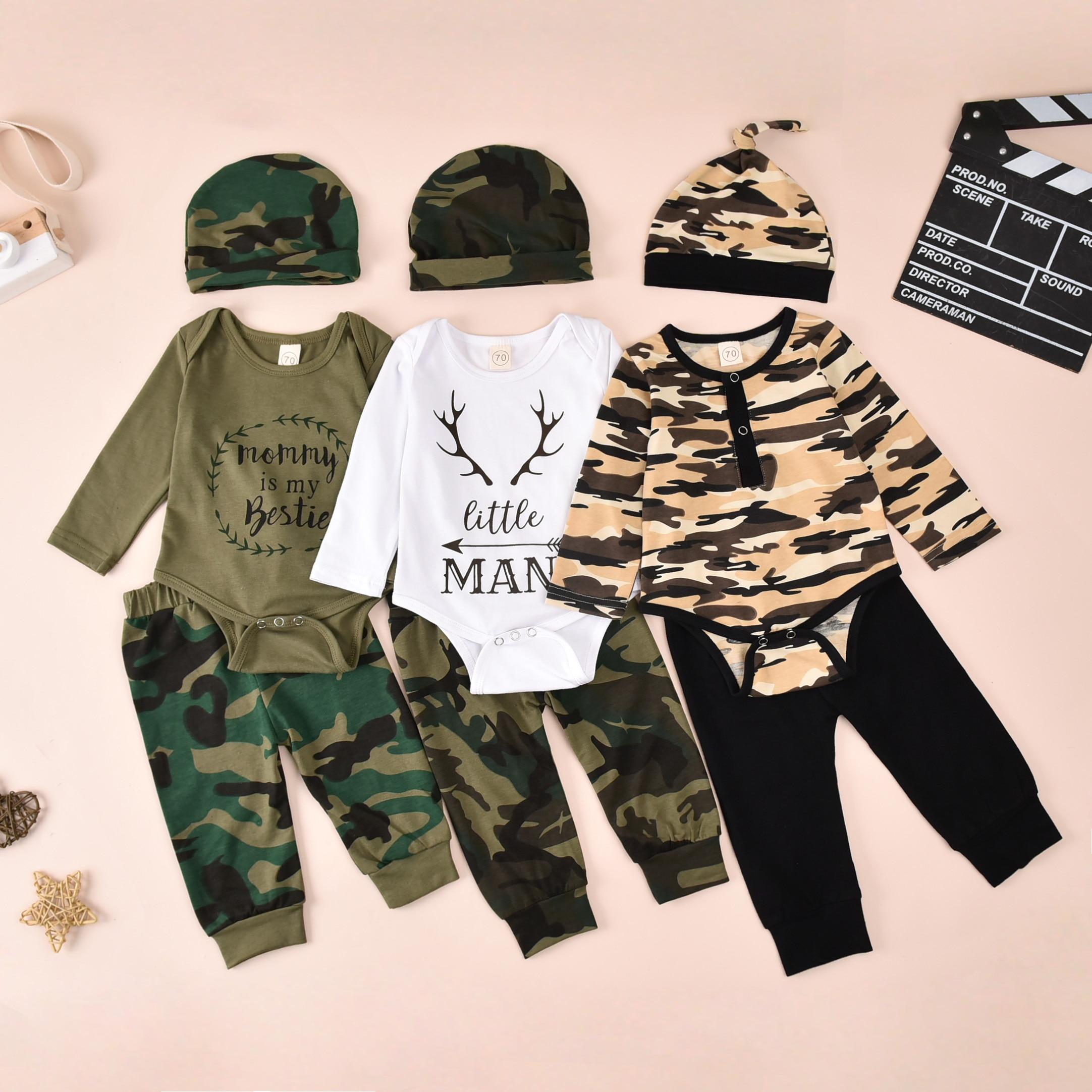 Mameluco de manga larga para bebé, pantalones, sombrero, diadema, estampado de camuflaje, cuello redondo clásico, trajes de primavera y Navidad, ropa de Navidad