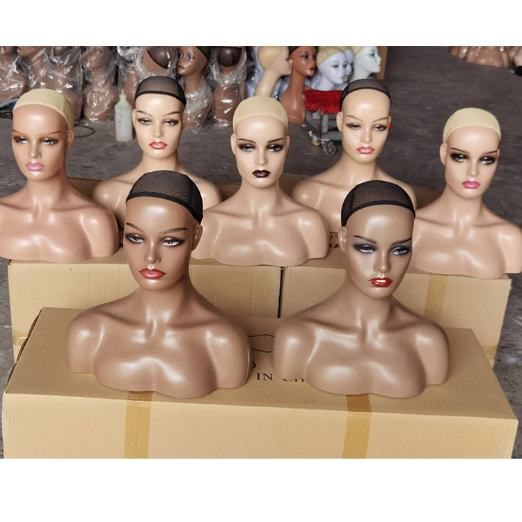 Ship US!18in Manikins Head Mannequin Head With Shoulders Realistic Mannequin Head for Display Manikin Head with Shoulder for Wig
