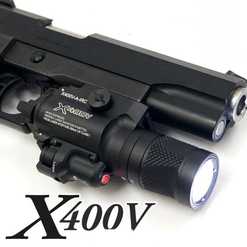 Tactical X400V IR Red Laser Sight LED White Weapon Light Softair Gun Flashlight Hunting Lanterna Airsoft Arma Glock Pistol Light