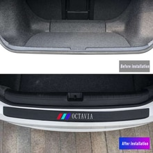 Accessoires en cuir de plaque de protection de pare-chocs arrière de voiture refit pour Skoda OCTAVIA 2 3 A7 VRS MK2 MK3 a5 RS autocollants de protection