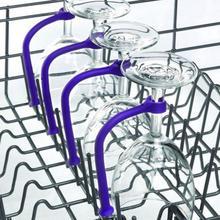 4 adet şarap bardağı tutucu esnek ayarlanabilir silikon bulaşık makinesi kadeh sabit raf braketi çerçeve Barware mutfak aksesuarları