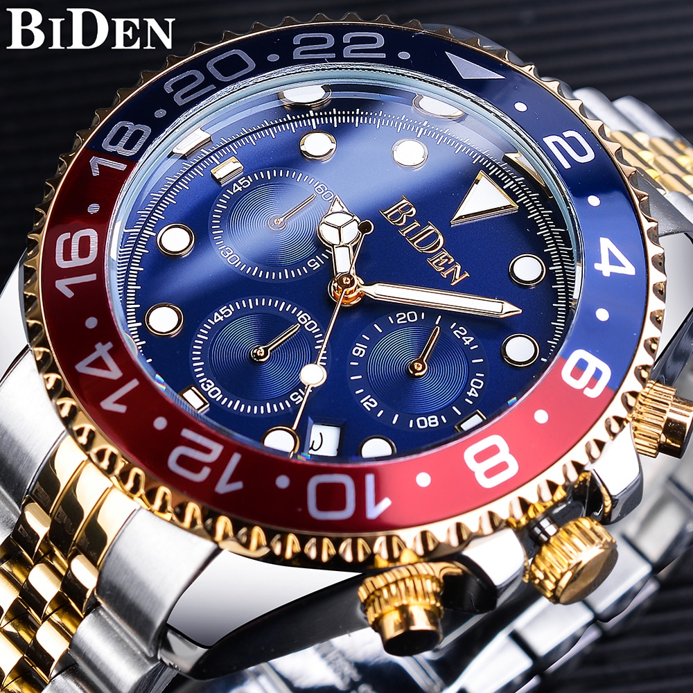 2017 new loreo chronograph waterproof auto date wrist watch top luxury brand stainless steel luminous diver male automatic clock BIDEN Bule Red Men Quartz Watch Stainless Steel Waterproof Miliatry Sport Chronograph Wrist Watch Top Brand Luxury Date Clock