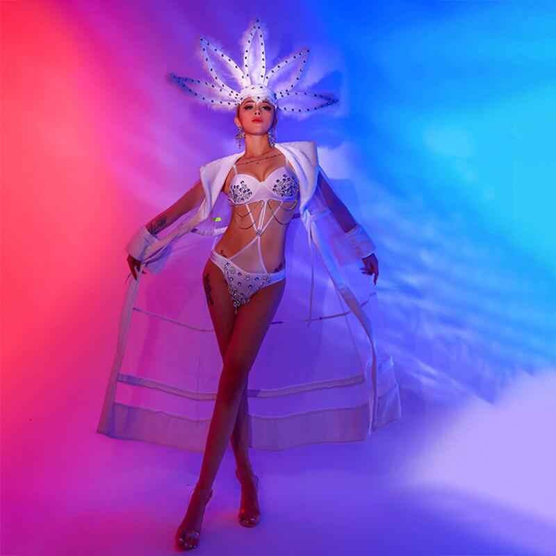 ملهى ليلي الموسيقى مهرجان الملابس حزب جوجو تظهر DS الرقص زي واحدة قطعة بيكيني الأبيض ارتداءها أداء المرحلة ارتداء BL4905