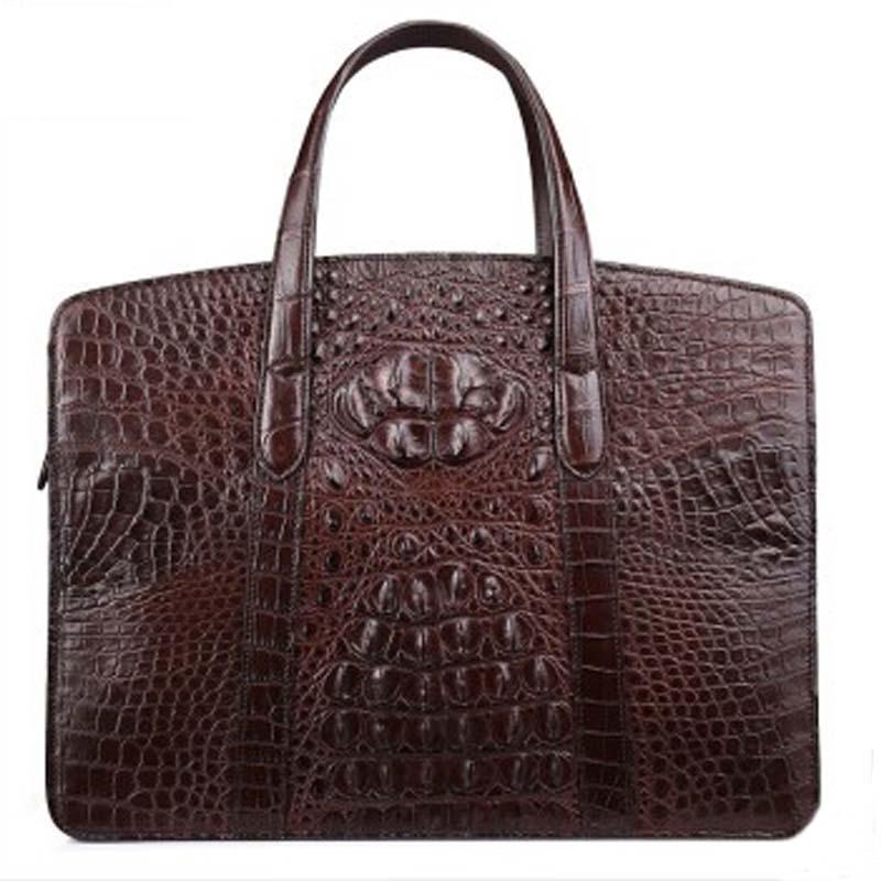 fasiqi new crocodile Handbag casual men computer bag business bag, cross-section male crocodile bag Crocodile leather men bag