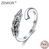zemior authentic 925 sterling silver vintage feather wings adjustable romantic ring for women anniversary jewelry gift recommend