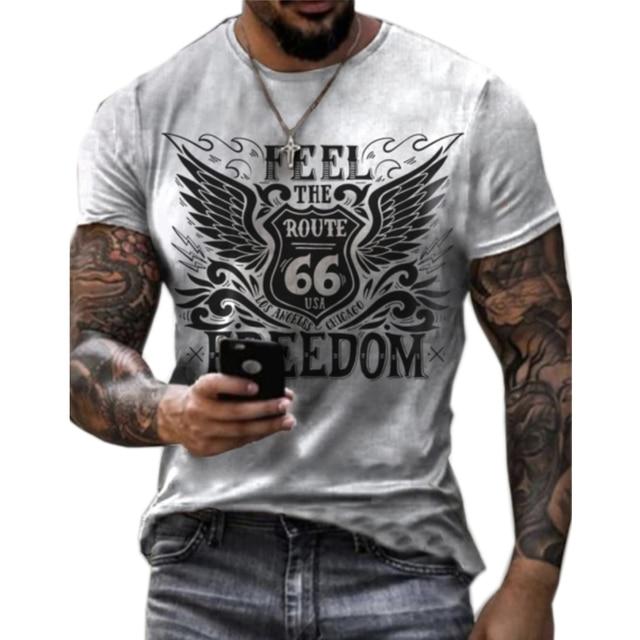 Vintage Route 66 Print Men's T-shirt