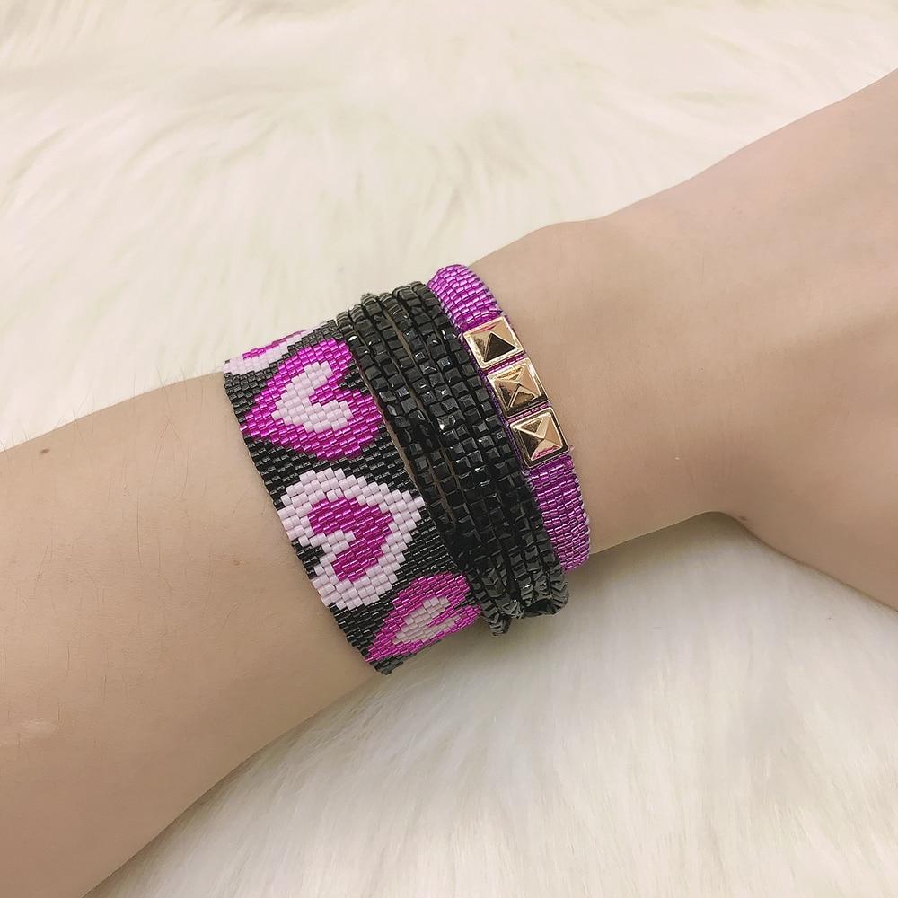 BLUESTAR, 3 uds., un conjunto, pulsera de cuentas MIYUKI con corazón Morado para mujer, pulseras de cuenta de cristal negra con remache Punk hechas a mano