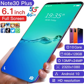 Note30 Ultra 5G Full Screen 6.1 inch Smartphones  Support Face/Fingerprint Recognition Dual Cards Cellphone 10 Core moblie phone