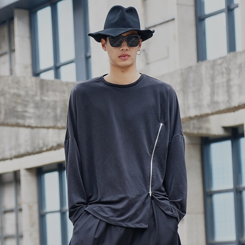 Men Zipper Design Long Sleeve Casual T-shirt Male Streetwear Retro Fashion Hip Hop Loose Tees Shirts
