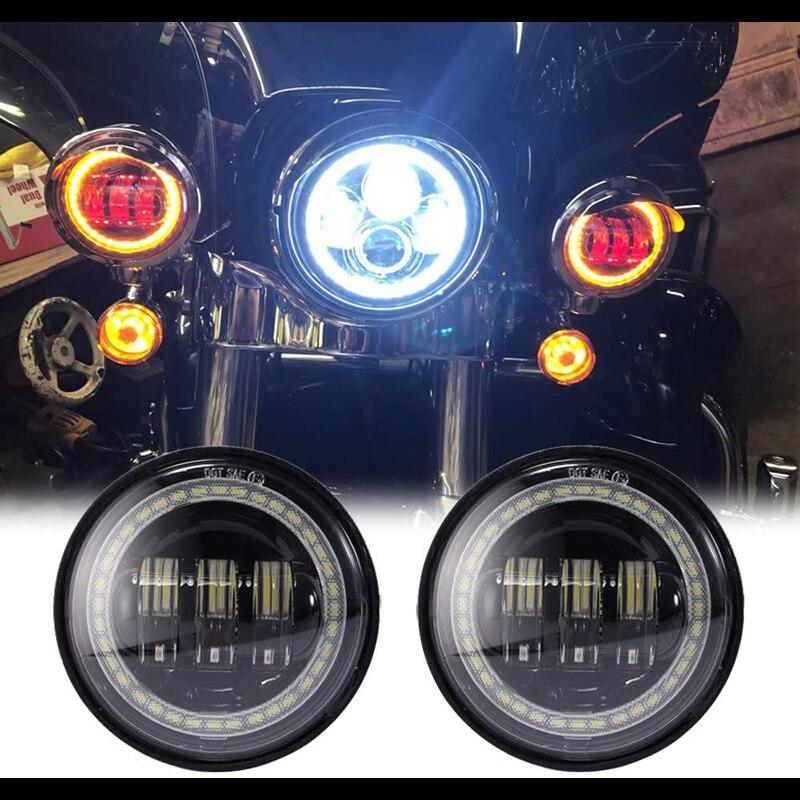 2 uds., 4,5 pulgadas, 30W, LED negro redondo, Luz antiniebla ámbar, señal de giro, Halo para Harley Davidson, motocicletas, faros, anillo Halo