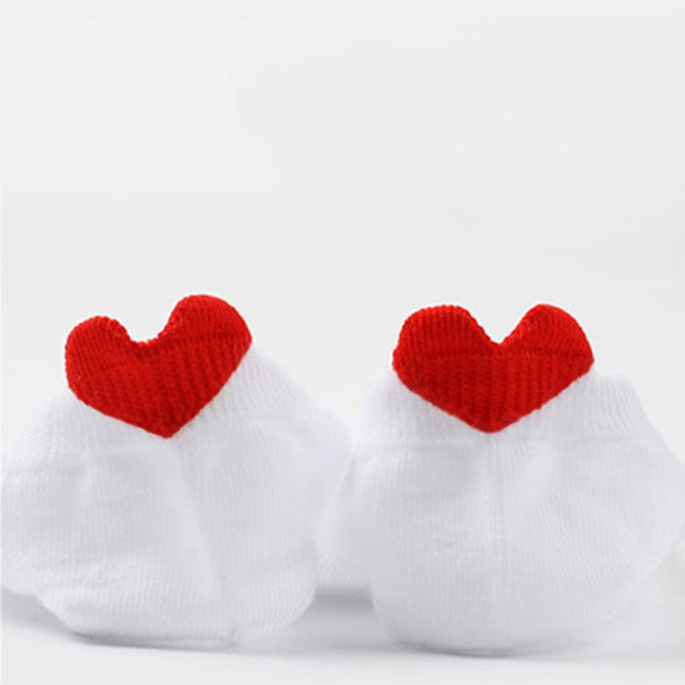 Meias femininas primavera verão nova chegada estilo coreano amor coração tornozelo estilo conciso kawaii branco curto meias