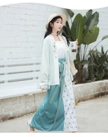 original han clothing female yuan wave wave song three piece straight collar to cardigan two piece skirt spring and autumn