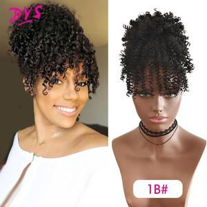 Deyngs Synthetic Afro Kinky Curly Hair Ponytail with Bangs African American Short  Wrap Drawstring Puff Ponytail Hair