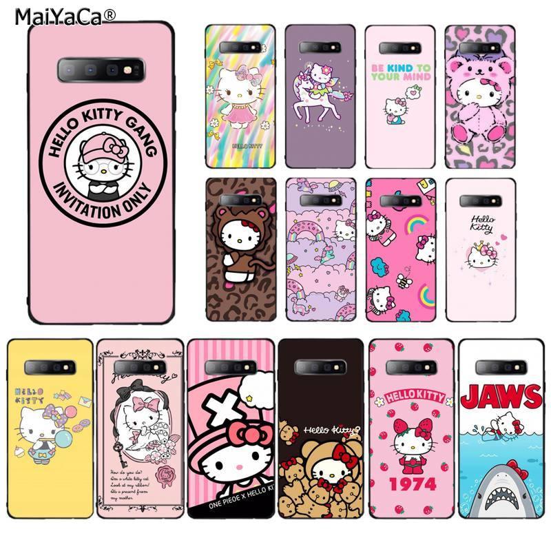 MaiYaCa Kawaii lindo Hello Kitty negro TPU suave cubierta de la caja del teléfono para Samsung S10 5G S7 borde S8 S9 S10 S20 más S10Lite