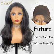 YYsoo longue 13x6 dentelle avant perruque synthétique Futura japon résistant à la chaleur fibre de cheveux noir synthétique dentelle perruque pour les femmes noires