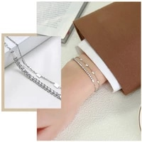 luxury bling cz stone bracelets for women never fade stainless steel metal double chains wristband jewelryparty gifts for her