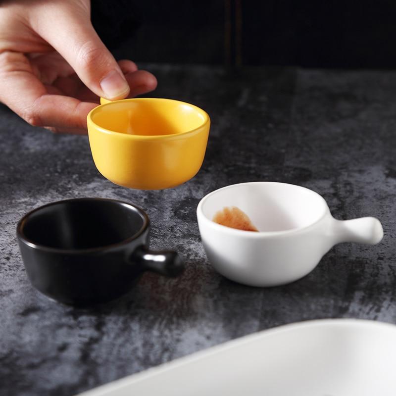 Prato de molho de soja chique do tempero da cerâmica da personalidade com punho esmalte placa de geometria da mão vinagre tigela doces pequenos bonitos