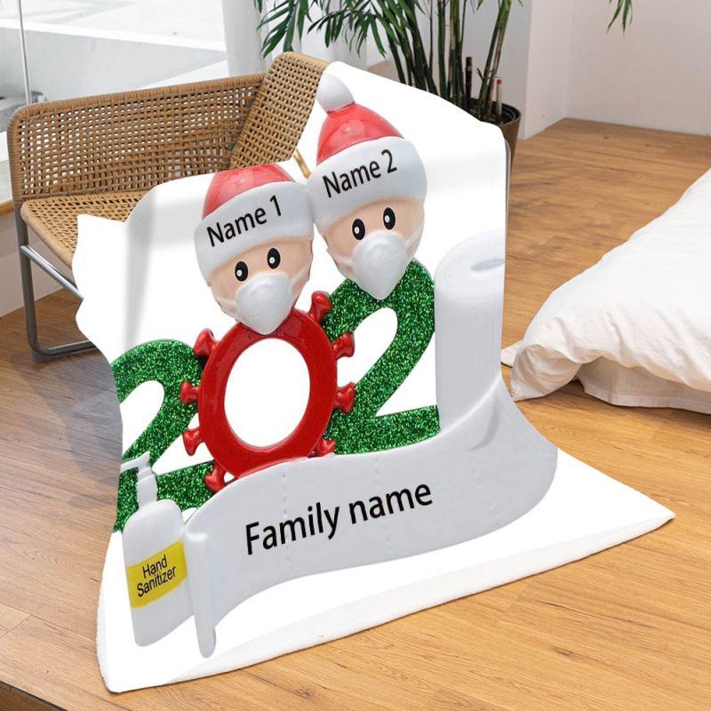 زينة عيد الميلاد الشخصية ، بطانية من الفلانيل على الوجهين لأفراد الأسرة ، ديكور الكريسماس ، 2020