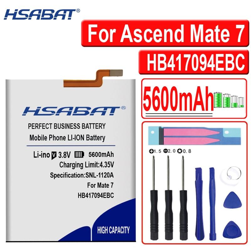 Hsabat novo 5600 mah hb417094ebc bateria para huawei ascend mate 7 bateria mate7 mt7 tl00 tl10 ul00 cl00 bateria