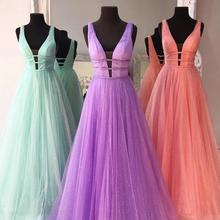 2020 Long Tulle Double V Neck Prom Dresses A Line Sleeveless Formal Evening Party Gowns Robe De Soir