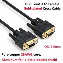 DB9 Weibliche zu Weibliche Gold-überzogene Kreuz Kabel Reinem Kupfer Linie RS232 9 Pin Seriellen Anschluss Draht COM Core mit Doppel Schild