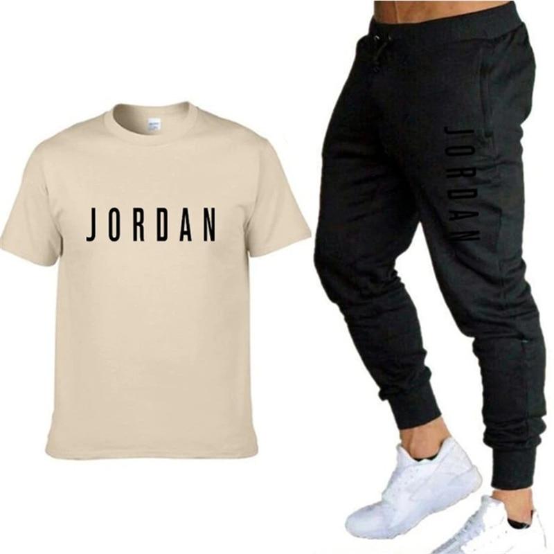 Summer Men'S Fashion Pure Cotton Suit, Short Sleeve T Shirt + Sports Casual Pants, Summer Fitness Suit, Men'S Sportswear