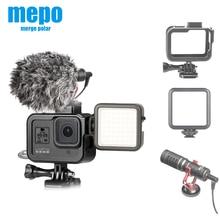 Cubierta de marco de aluminio para cámara deportiva Gopro Hero 8 negro acción Cámara funda Carcasa protectora para micrófono con luz