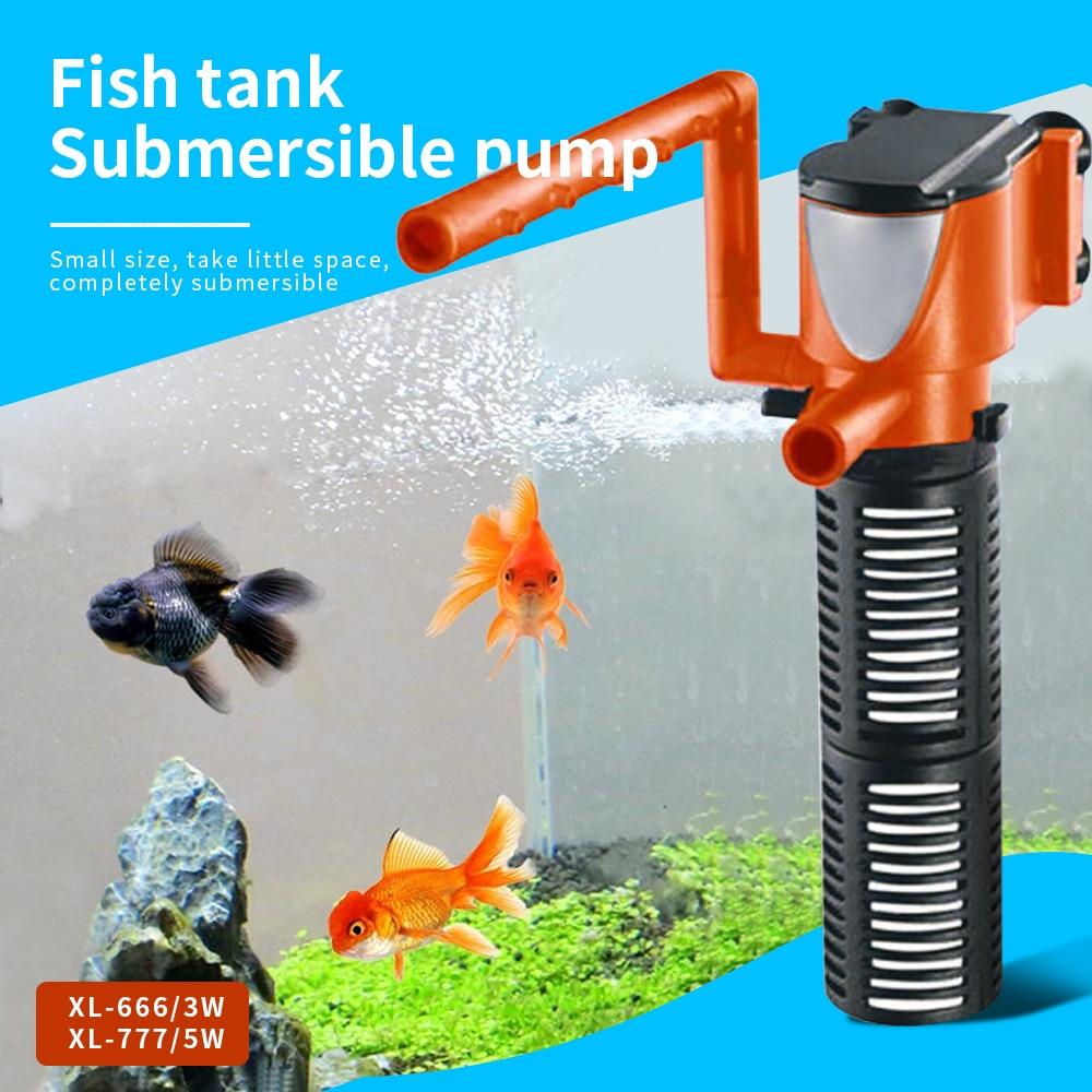 Mini Aquarium Filter 3in1 3W 5W Aquarium Internal Filter Oxygen Submersible Water Pumps For Fish Tank Pond Aquarium Filters