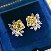 women top quality 100 925 sterling silver flower earrings square 10 10mm high carbon diamond stud earrings wedding jewelry