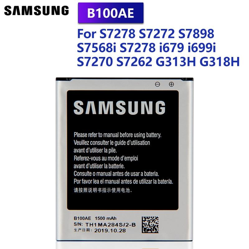 SamsungOriginal Battery B100AE B100AC For Samsung Galaxy Ace 3 Ace 4 S7568i S7278 i679 i699i G313H G318h S7898 S7272 S7270 S7262