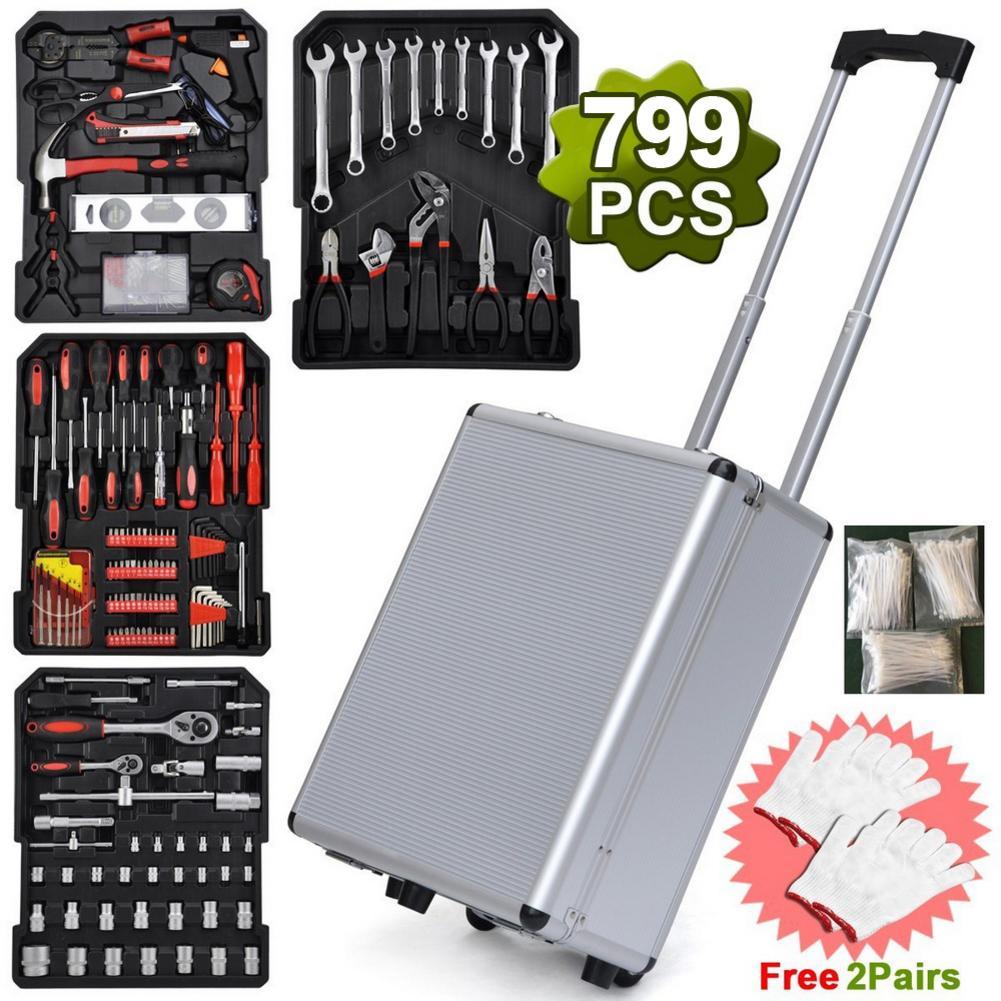 799pcs Aluminum Trolley Case Tool Set Silver Tool Organizers Toolbox Caixa De Ferramentas